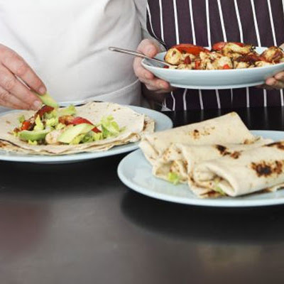Chicken fajitas with avocado & Caesar dressing