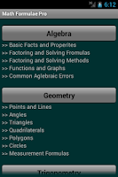 Screenshot of Math Formulae Lite (Free)