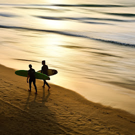 two  by Josh Adamski - Sports & Fitness Surfing ( josh adamski, surfing, sunset, waves, beach, light )