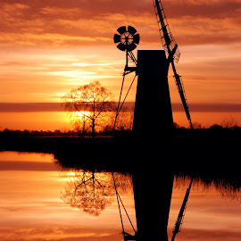 Bennets mill by Kevin Myhill - Buildings & Architecture Other Exteriors ( orange, silhouette, reflections, bennets mill, still water, how hill, river,  )