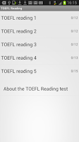 Screenshot of TOEFL Reading
