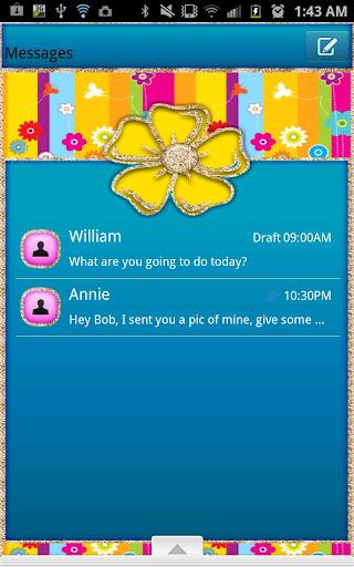 GO SMS - Rainbow Flower Gold