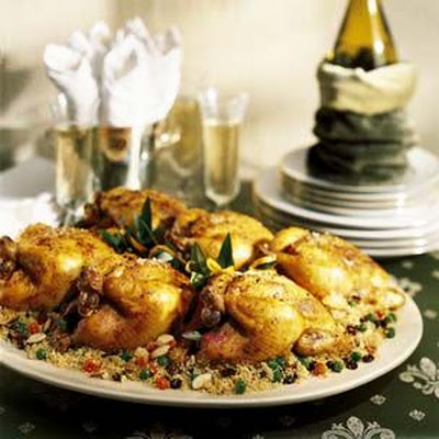 Curried Cornish Hens with Spiced Confetti Couscous