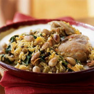 Chicken and Basmati Rice Pilau with Saffron, Spinach, and Cardamom