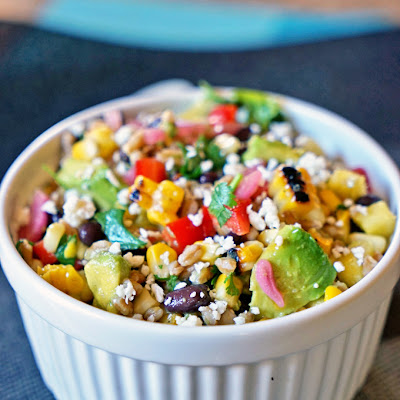 Farro Salad with Pineapple, Avocado and Black Beans