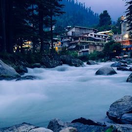 Manali, India by Abhishek Solanki - Landscapes Travel ( wander, old, street, travel, landscape, dusk, backpacking, sunset, asia, india, town, evening, river )