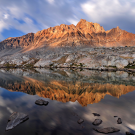 Mount Humphreys Reflection by Cliff LaPlant - Landscapes Mountains & Hills ( sierralara; california; backpacking; sunset; sierra; sierras; sierra nevada; mountains; mountain; lake; lakes; reflection; reflections; mountain reflections; range of light; nikon; photography; hiking; outdoors; camping; climbing; beauty; discover; discovery; scenery; john muir; ansel adams; wilderness; wild; usa; united states; america; united states of america )