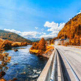 Summer breeze by Rio Tanusudiro - Landscapes Travel ( mountain, trees, summer, road, morning, norway, river )