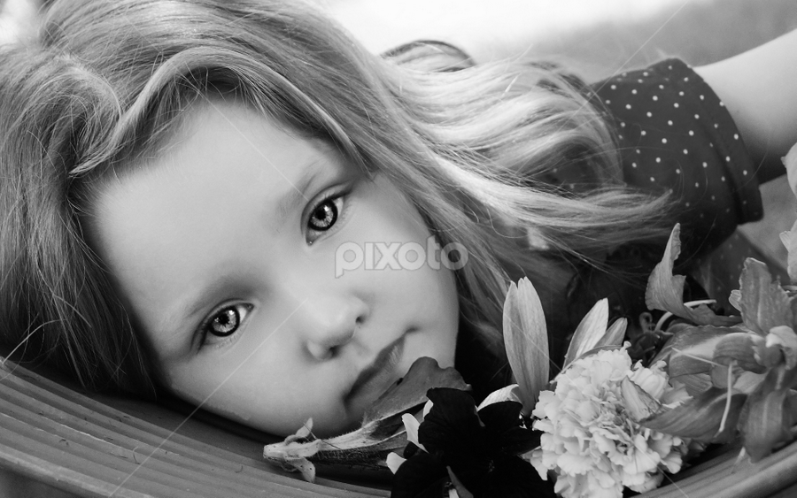 Swinging With Flowers B & W by Cheryl Korotky - Black & White Portraits & People ( outlined iris, children with swings, swings, a heartbeat in time photography, amazing faces, beautiful children, b & w, child model nevaeh, flowers, portrait,  )