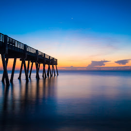 Sunrise at the pier by Bradley Wilson - Landscapes Sunsets & Sunrises ( orange, pier, long exposure, ocean, sunrise )