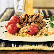 Spice-Rubbed Pork Skewers with Tomatoes