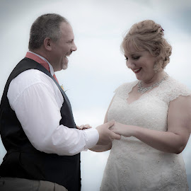 Smiles by Shawn Klawitter - Wedding Bride & Groom ( laughing, friends, wedding, couple, bliss )