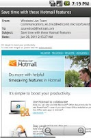 Screenshot of Azure Hotmail