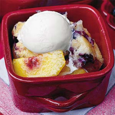 Nectarine Cobbler With Blueberry Muffin Crust