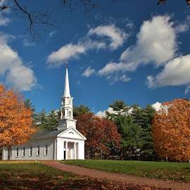 Fall in New england  by Paul Wyman - Landscapes Travel ( clouds, church, colors, fall, trees, east, coast )