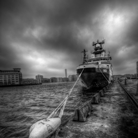 Coast guard by Mirza Buljusmic - Transportation Boats ( clouds, sweden, malmoe, hdr, malmö, black and white, ship, sverige, sea, cityscape, malmo )