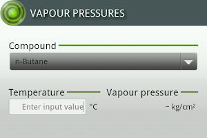 Screenshot of Vapour Pressures