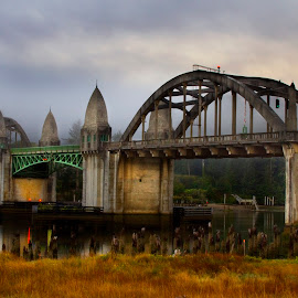 Iconic Bridge by Ken McDougal - Buildings & Architecture Bridges & Suspended Structures ( florence oregon bridge, famous oregon bridges, siuslaw river bridge, oregon bridges, historic bridges )