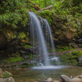 Summer Falls by Timothy Bell - Landscapes Waterscapes ( water, mountains, waterfall, landscape, smoky mountains )