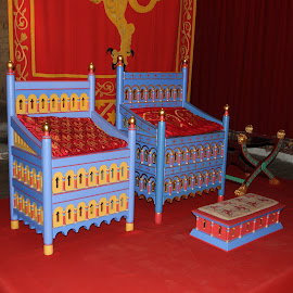 The kings chair by Andrew Steele - Artistic Objects Furniture ( historic medieval keep king's hall tapestry chair blue red green yellow,  )