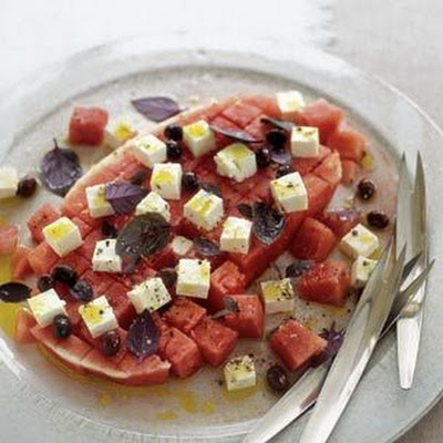 Watermelon Salad with Purple Basil and Feta