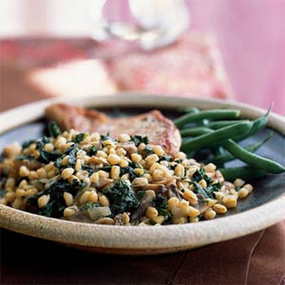 Grano with Mushrooms and Greens