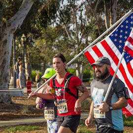 Flag bearing runners by Greg Head - Novices Only Street & Candid ( san diego, flag, hot chocolate run, patriotic, running )