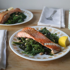 Pan-roasted Salmon with Kale, Blueberries, and White Beans