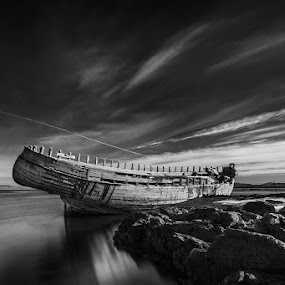 Transportation by Bragi Ingibergsson - Black & White Landscapes ( water, old, iceland, brin, bragi j. ingibergsson, ship, sea, beach, boat, mono, black&white, abandoned )