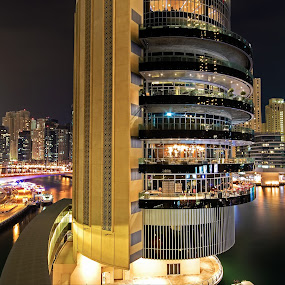 Marina At Night by Scott Lorenzo - City,  Street & Park  Night ( urban, buildings, night, cityscape, city )