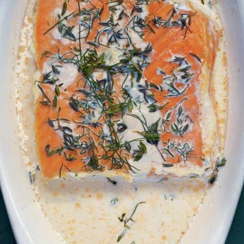 Salmon Baked In Cream With Sweet Bay, Thyme And Dill