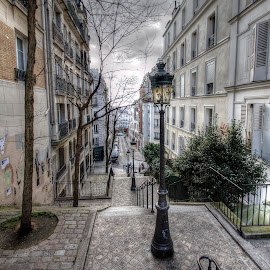 Montmartre, Paris by Ben Hodges - City,  Street & Park  Street Scenes ( paris, stairs, hdr, montmartre, street, lamp, france, travel )