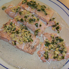 Salmon With Basil Champagne Cream Sauce