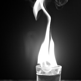 Whiskey Fire  by Harlie Marie Dale - Artistic Objects Glass ( still life, glass, smoke, fire, liquor )
