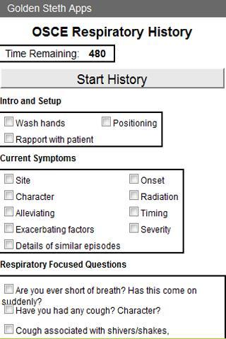 OSCE Respiratory History Check