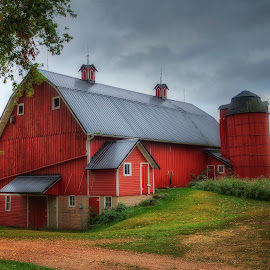 Red Barn by Gina Haines Stocker - Buildings & Architecture Other Exteriors ( minnesota, red, hdr, barn, barn yard, silo )