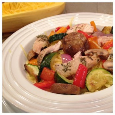Spaghetti Squash Pasta with Chicken and Roasted Vegetables