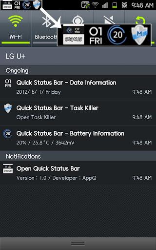 Quick Status Bar_상단바 배터리 날짜 요일