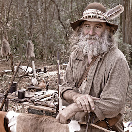 The Trapper by Sharon Isern - People Portraits of Men ( trapper, pioneer, beard, man )
