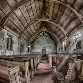 far from abandoned by Liz Benek - Buildings & Architecture Decaying & Abandoned ( urbex, church, wood, pew, abandoned,  )
