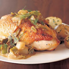 Pan-Roasted Chicken with Fennel, Leeks and Cream