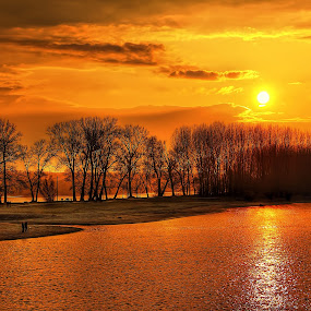 by Гојко Галић - Landscapes Sunsets & Sunrises ( red, color, sunset, lake, landscape )