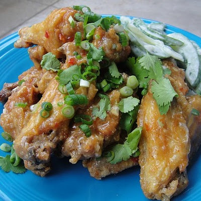 Chile Chicken Wings with Creamy Cucumbers