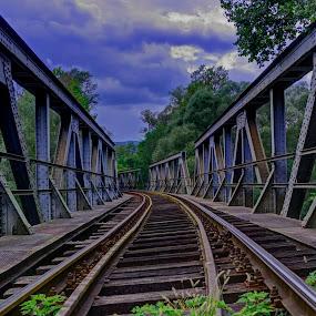 Railway tracks by Stratos Lales - Buildings & Architecture Bridges & Suspended Structures ( railway, train, bridge, tracks, river )