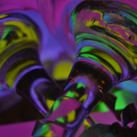 Mixing Colors  by Amanda Leigh - Abstract Light Painting ( glow sticks, light painting, colors, wine glass, stems )