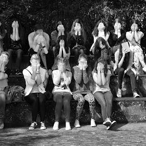 Hiding by Irena Čučković - Black & White Portraits & People ( high school, black and white, serbia, group )