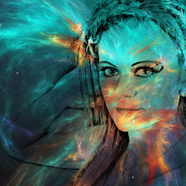 Fooling around by Annika Torstensson - Abstract Light Painting ( faces, colourful, aminaphoto, woman, digital art, annika torstensson, portraits, amanda, fire )