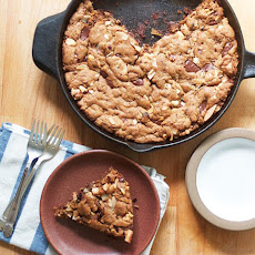 Dark Chocolate and Hazelnut Skillet Blondies