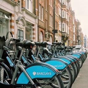 Rental Bikes by Dunstan Vavasour - Transportation Bicycles ( bicycles, fitzrovia, london, bikes, transport, street, barclays, cycle rack, boris bikes )