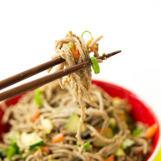 Soba Noodle Salad With Red Peppers, Cucumbers And Carrots,